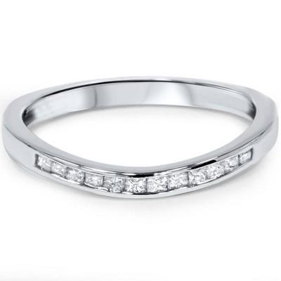 Pompeii3 1/4ct Princess Cut Diamond Curved Guard Wedding Ring Enhancer 14k White Gold