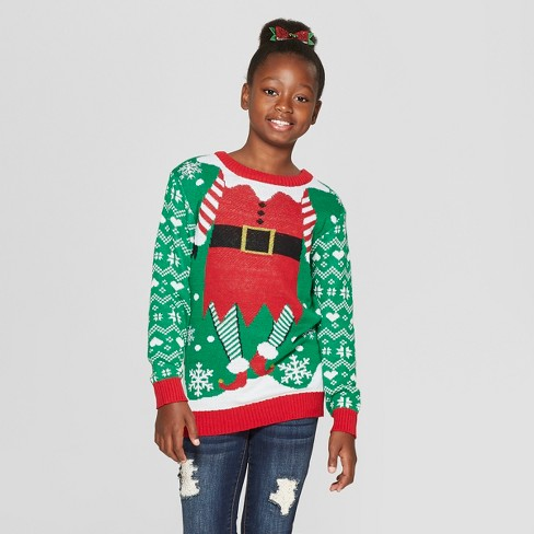 Kids Elf Christmas Ugly Sweater Well Worn Green Target