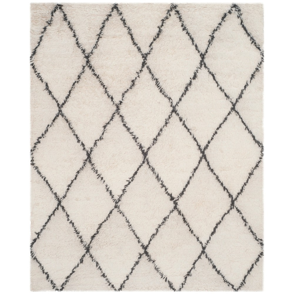 8'X10' Geometric Knotted Area Rug Ivory/Gray - Safavieh, White