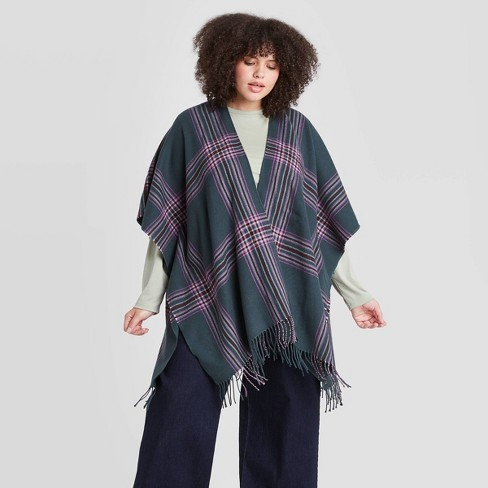 Women's Plaid Ruana Kimono Jacket - A New Day™ Green  - image 1 of 2
