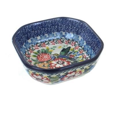 Blue Rose Polish Pottery Hummingbird Small Square Dish