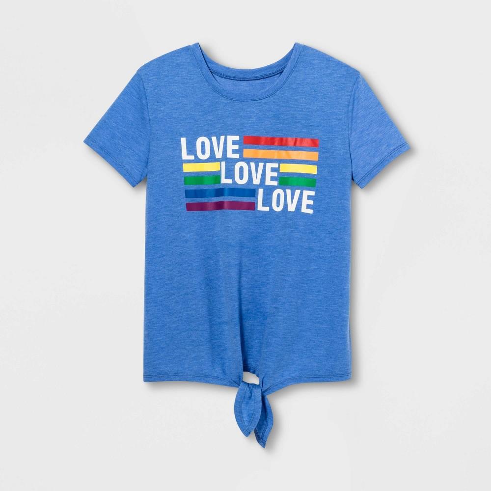 Pride Adult Short Sleeve Love Tie Front Gender Inclusive T-Shirt - Light Blue Heather XL, Women's