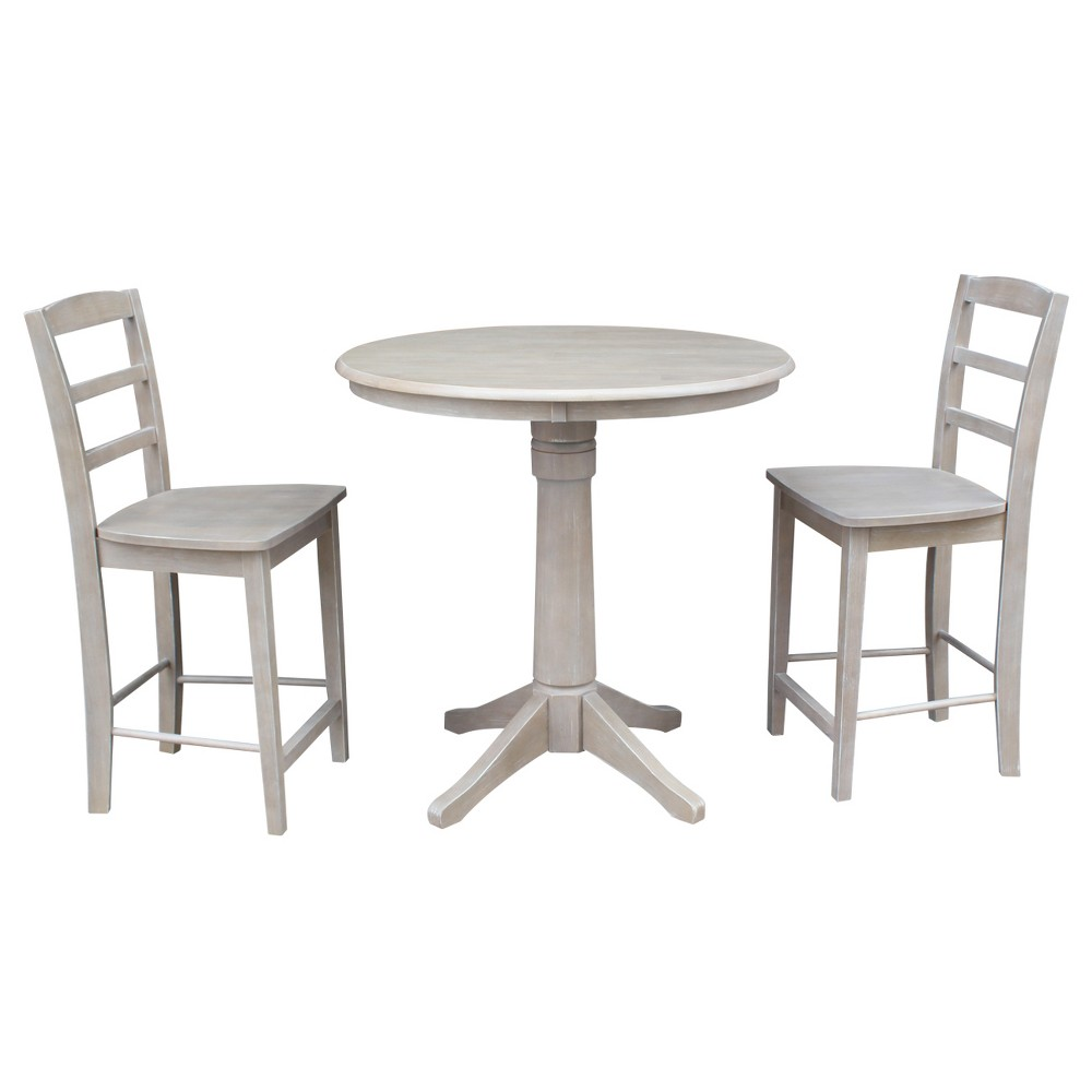 3pc Round Top Solid Wood Pedestal Counter Height Table and 2 Madrid Stools Washed Gray Taupe - International Concepts was $899.99 now $674.99 (25.0% off)