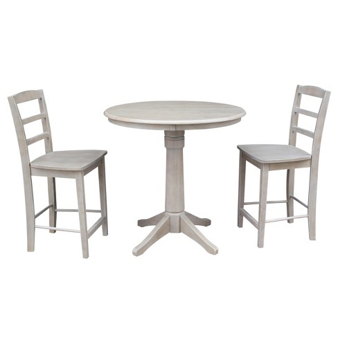 Stupendous Round Top 36 X 36 Solid Wood Pedestal Counter Height Table And 2 Stools Weathered Gray 3Pc Set International Concepts Home Interior And Landscaping Ferensignezvosmurscom