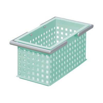 Like-It Versatile Plastic Stacking Home Bathroom Storage Solution Organizer Slotted Basket Tote, Mint (6 Pack)