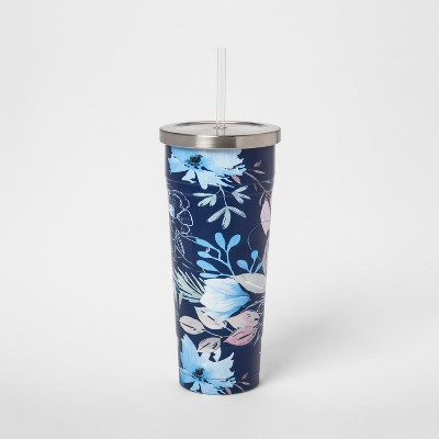 25oz Stainless Steel Straw Tumbler Blue Floral
