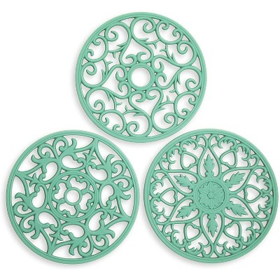 Silicone Carved Trivets for Kitchens, Nonslip (7.9 Inches, Green, 3 Pack)