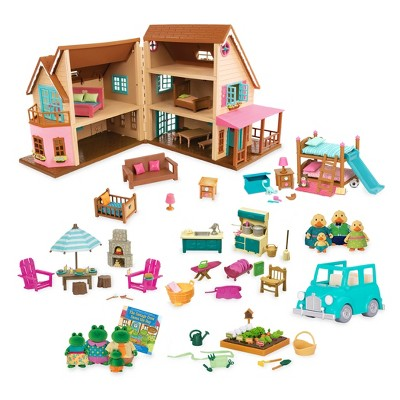 Li'l Woodzeez Toy House with Accessories 127pc - Honeysuckle Hillside Cottage