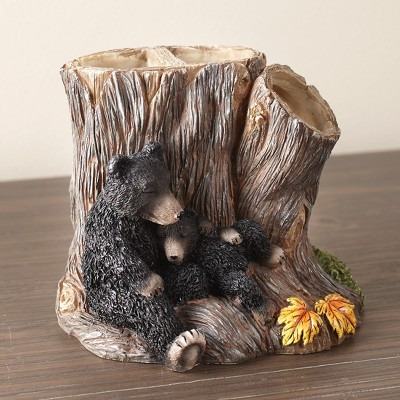 Lakeside Cozy Bear Toothbrush Holder with Carved Tree Stump, Animal Design