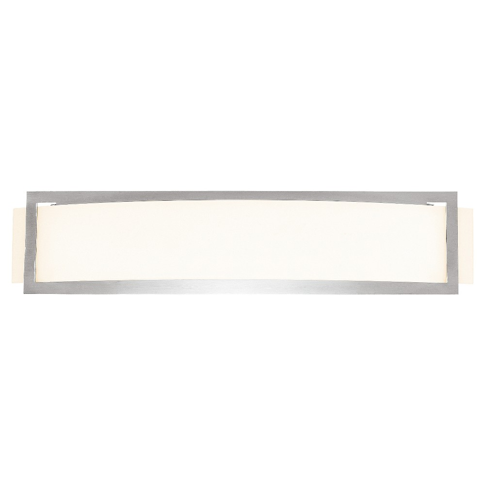 Argon Fluorescent Wall Light with Opal Glass Shade - Brushed Steel (Silver)