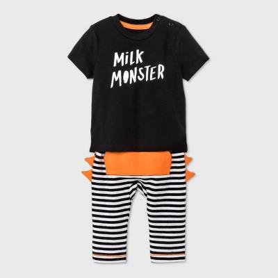 Baby Boys' Milk Monster Short Sleeve Top & Bottom Set - Cat & Jack™ Black 3-6M