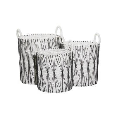 3pk Plastic Natural Storage Baskets White