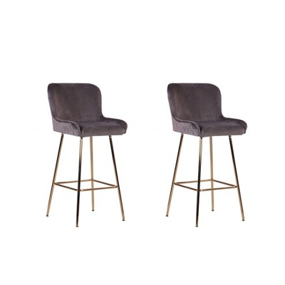 Set of 2 Pagel Quilted Counter Height Barstools with Gold Metal Legs - ACEssentials