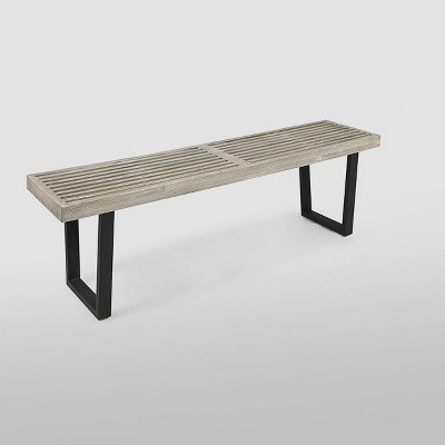 Fresno Acacia Wood Patio Dining Bench Light Gray - Christopher Knight Home