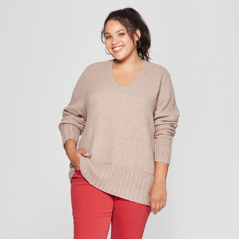 Womens Plus Size V Neck Pullover Universal Thread Brown Target
