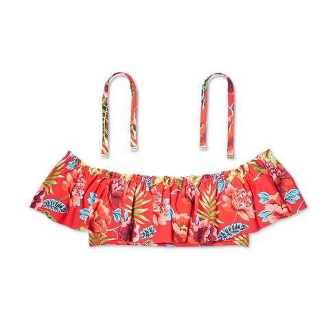 cc9561aa1eb473 Women s Off the Shoulder Flounce Bikini Top - Sunn Lab Red Floral. Shop all SUNN  LAB SWIM