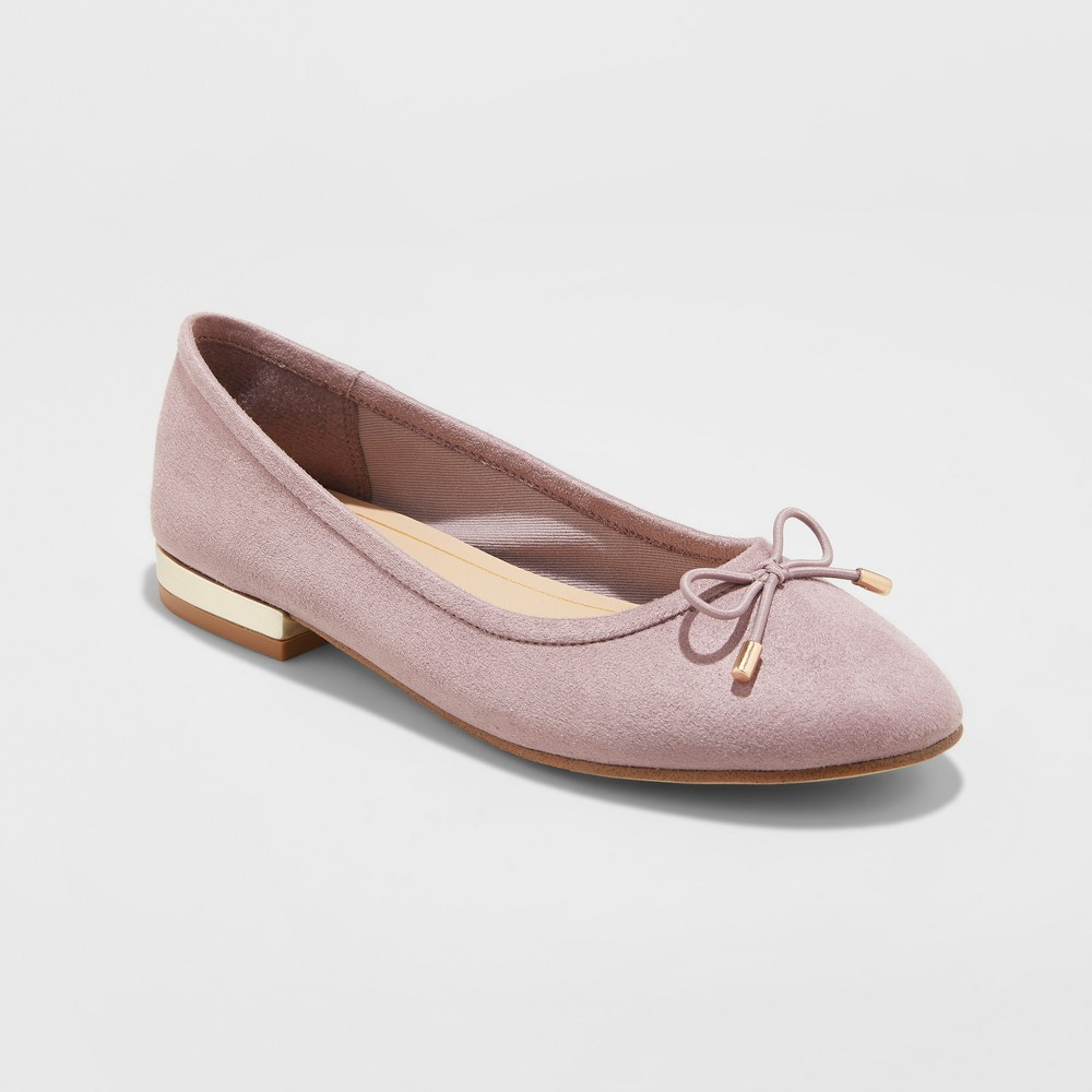 Women's Annalyn Microsuede Bow Ballet Flats - A New Day Lavender (Purple) 6