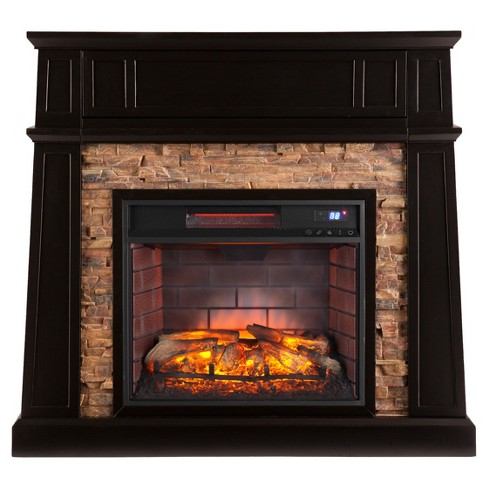 Crestshire Faux Stone Infrared Media Fireplace - Black - Aiden Lane - image 1 of 10
