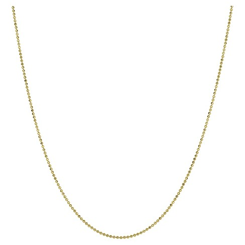 "Women's Diamond Cut Short Beaded Gold Chain Necklace Gold in Sterling Silver - Gold (24"") - image 1 of 1"