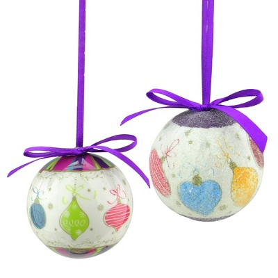 """Northlight 8pc Purple and White Decoupage Shatterproof Christmas Ball Ornaments 2.25"""" (57mm)"""