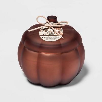 12oz Lidded Frosted Glass Pumpkin Jar 2-Wick Pumpkin Brittle Candle - Threshold™