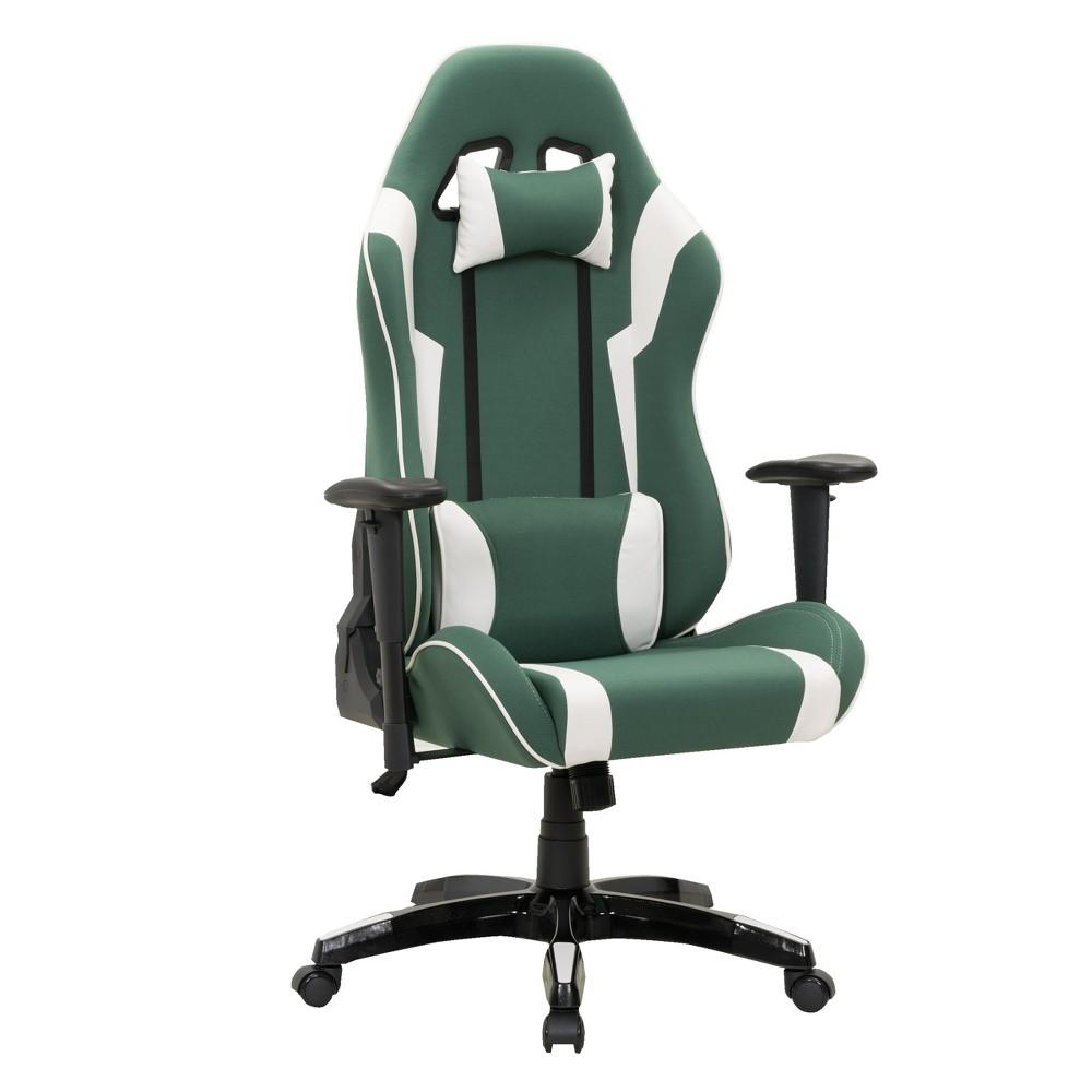 Adjustable High Back Ergonomic Gaming Chair Green/White - CorLiving