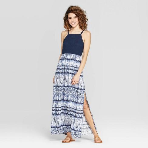 8687b4afcd5 Women s Square Neck Strappy Crochet Top Tie Dye Maxi Dress - Xhilaration™  Navy White