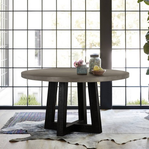 Manchester Modern Concrete And Acacia, Concrete Round Dining Table For 6