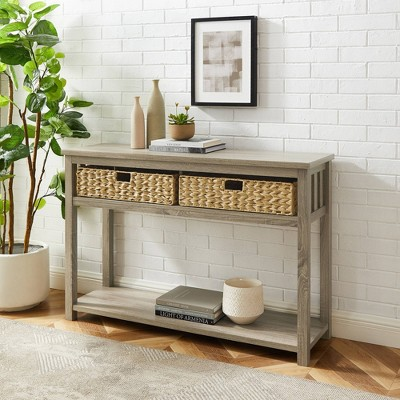 Ethan Mission Entry Table with Woven Baskets - Saracina Home