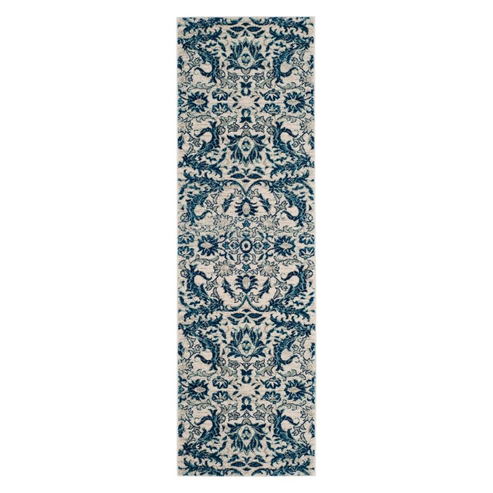 2'2X9' Floral Runner Ivory/Blue - Safavieh