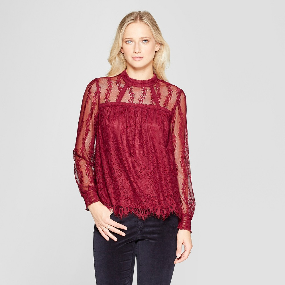 Women's Long Sleeve High Neck Lace Top - Xhilaration Burgundy (Red) M