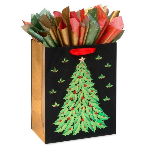 Large Papyrus Christmas Winter Holly and Poinsettia Gift Bag and Tissue Paper - image 1 of 3