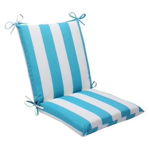 Pillow Perfect Cabana Stripe Outdoor Squared Edge Chair Cushion - Blue - image 1 of 4