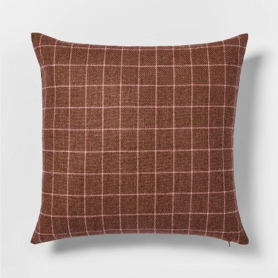 Woven Wool Blend Windowpane Square Pillow Berry - Threshold™
