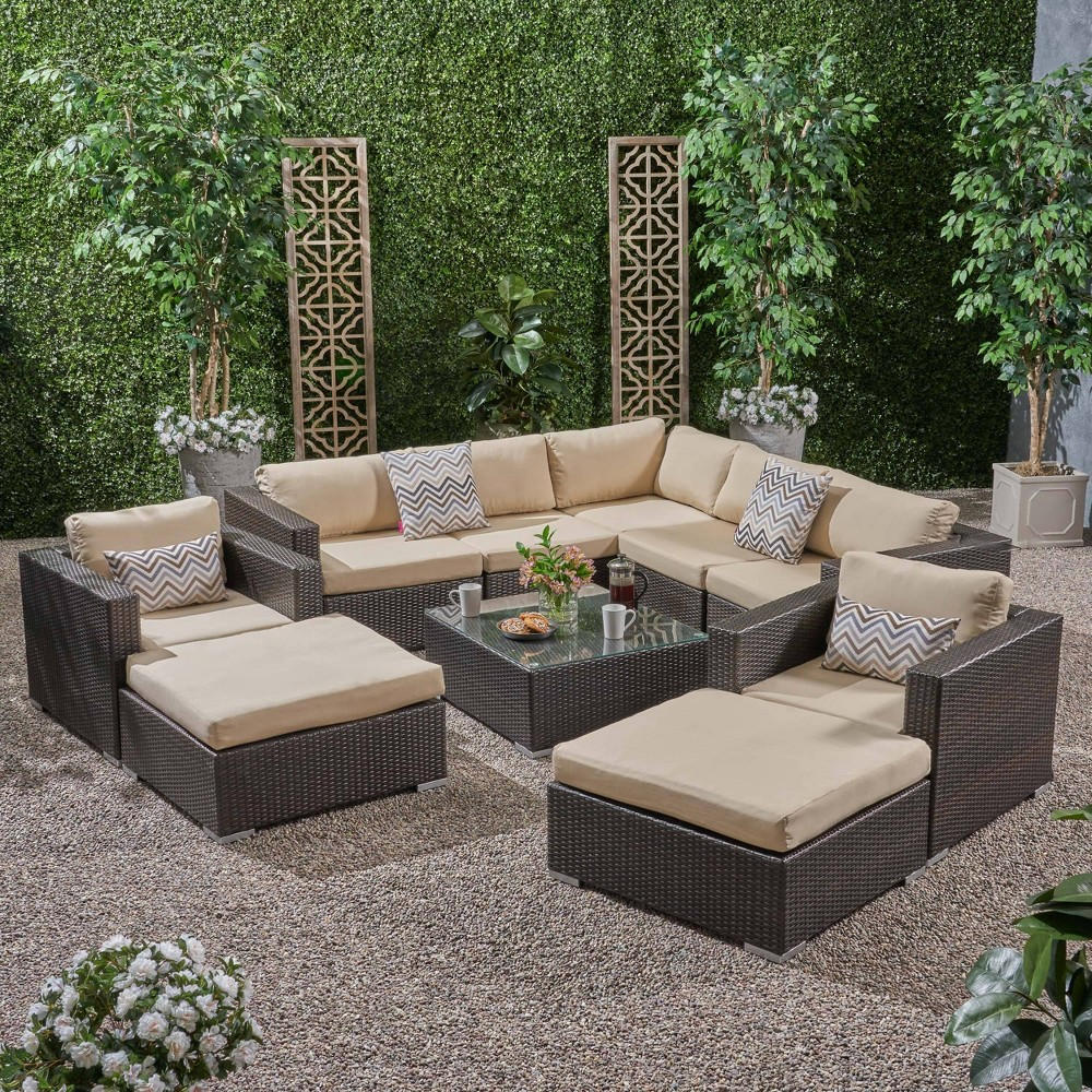 Image of 10pc Santa Rosa Wicker Patio Seating Sectional Set with Sunbrella Cushions Brown - Christopher Knight Home
