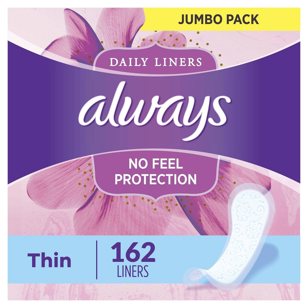 Always Thin Daily Liners Regular Unscented Wrapped 162ct