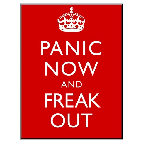 Art.com Decorative Wall Panel Panic Now And Freak Out Keep Calm Inspired Print Poster - Blue - image 1 of 2