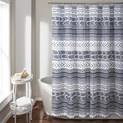Hygge Geo Shower Curtain Navy - Lush Décor