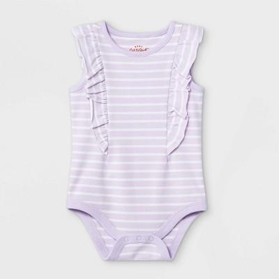 Baby Girls' Striped Ruffle Short Sleeve Bodysuit - Cat & Jack™ Light Purple 6-9M