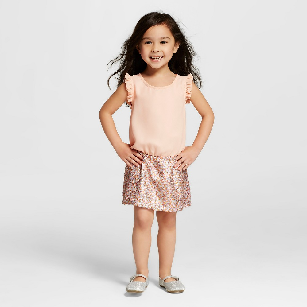 Miss Treasures Toddler Girls' Lia Dress with Sequin Skirt Pink - 4T, Multi-Colored