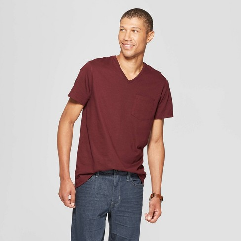 Men's Standard Fit Short Sleeve Elevated Ultra-Soft V-Neck T-Shirt - Goodfellow & Co™ Pomegranate Mystery M - image 1 of 3