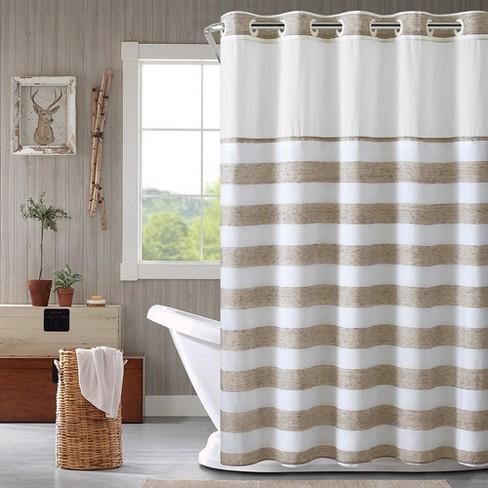 Hookless Yarn Dye Stripe Shower Curtain With Liner Tan Target