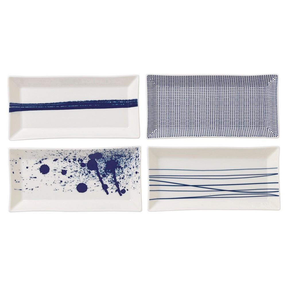 Royal Doulton Rectangular Pacific Porcelain 4pc Tray Set White/Blue