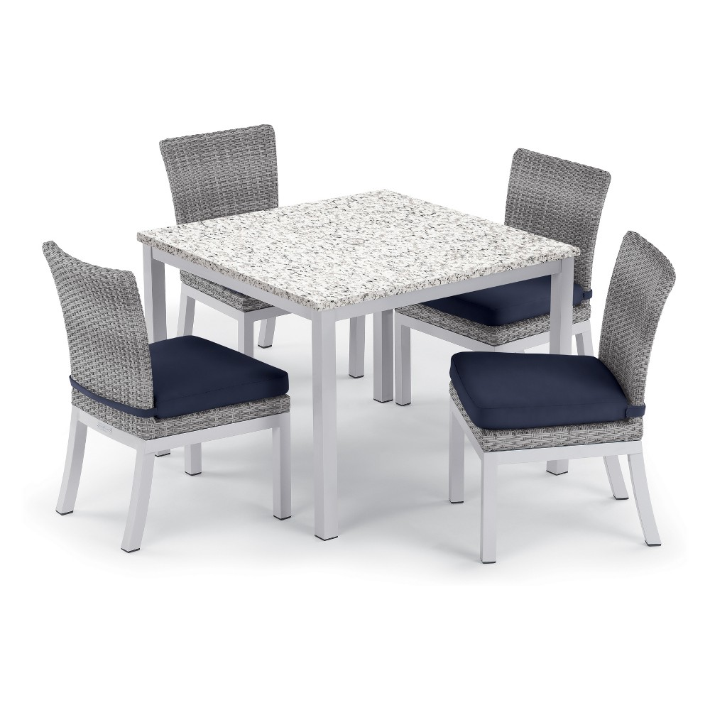 "Image of ""5pc Travira 39"""" Ash Dining Table & Argento Side Chair Set Midnight Blue Cushions - Oxford Garden, Black Blue"""