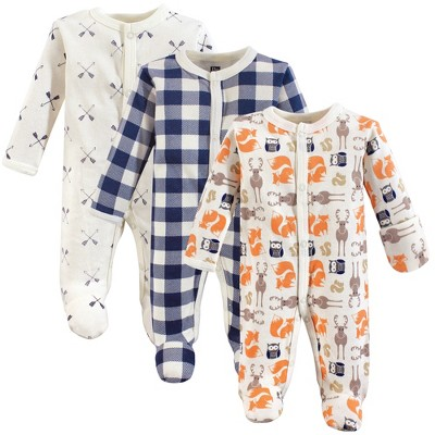 Hudson Baby Infant Boy Cotton Preemie Snap Sleep and Play 3pk, Forest, Preemie