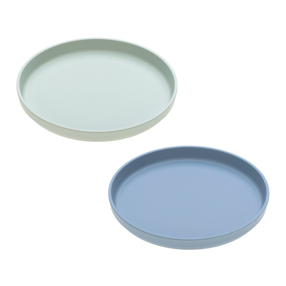 Image of Lassig Bamboo Plate Set - 2pc Mint/Blueberry, Green/Blueberry
