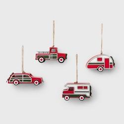 4ct Wood Vehicle Christmas Ornament Set - Wondershop™
