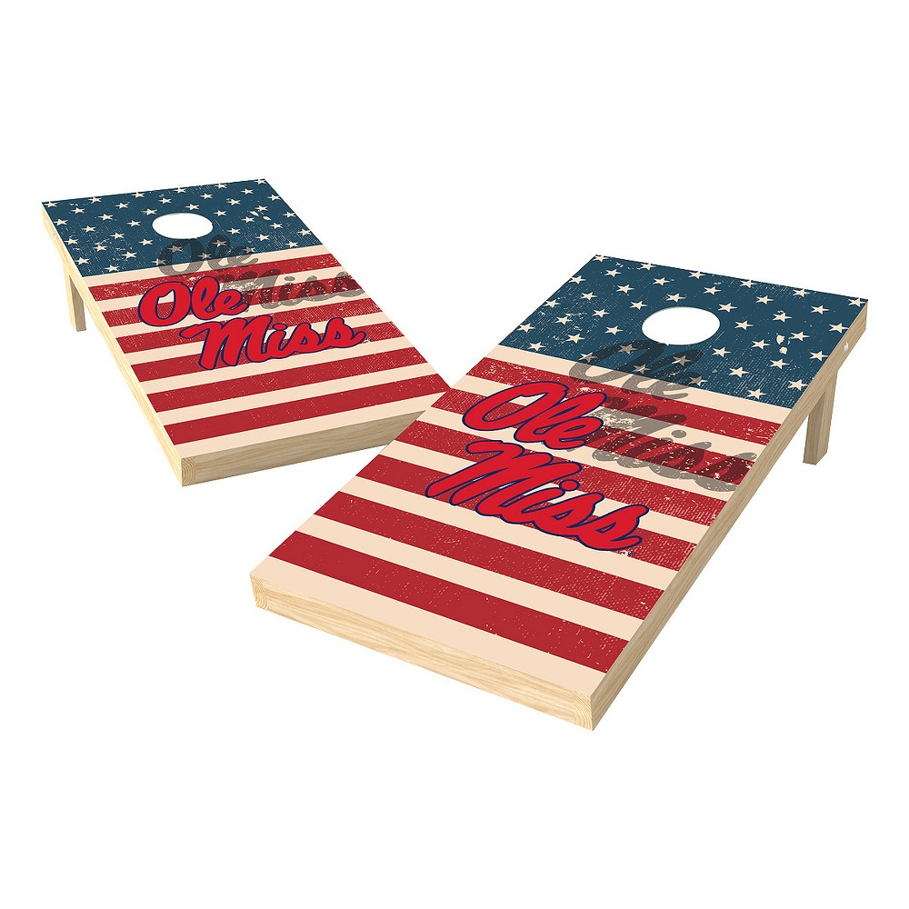 NCAA 2x4 Authentic Cornhole College Ole Miss Rebels Sas Worn Shadow Design