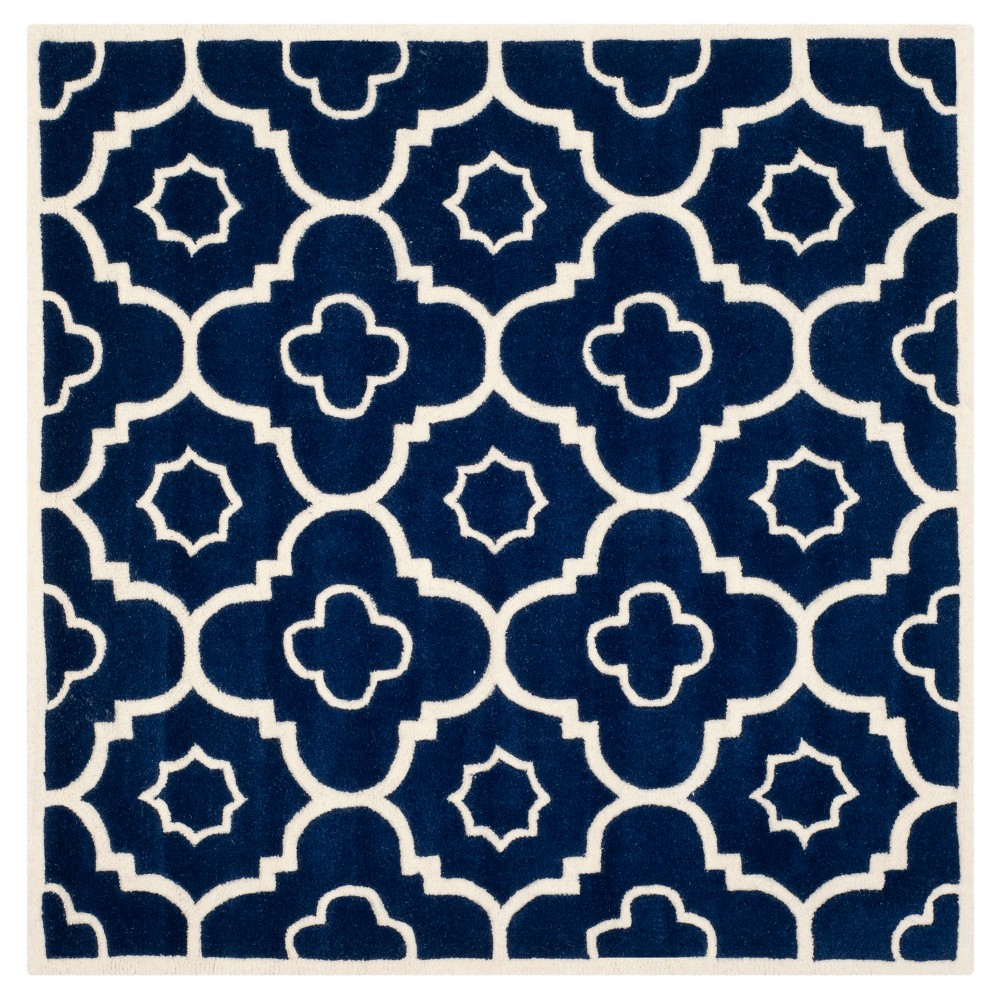 Dark Blue/Ivory Abstract Tufted Square Area Rug - (7'x7') - Safavieh