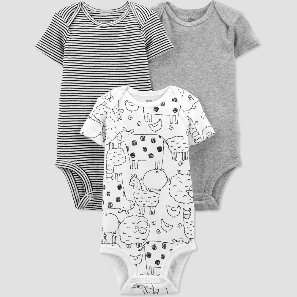 Baby 3pk Farm Animals Bodysuit Just One You 174 Made By Carter 39 S Gray 6m